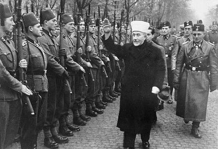 Palestinian leader Haj Amin al-Hussaini inspecting Muslim SS troops for Hitler