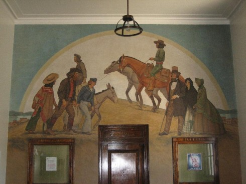 "Mural in the Martinez, California post office.  ""The Road to El Dorado, painted by Edith Hamlin and Maynard Dixon in 1939.  http://livingnewdeal.berkeley.edu/projects/martinez-post-office-mural-the-road-to-eldorado-martinez-ca/"