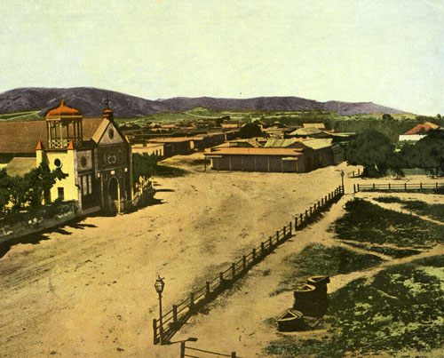 Calle Principal and an edge of the plaza in 1869. Courtesy of Los Angeles Public Library