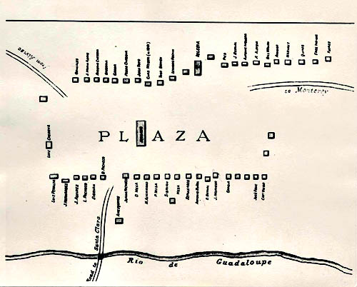 Plaza Map, Pueblo de San Jose, 1797. Courtesy San Jose History