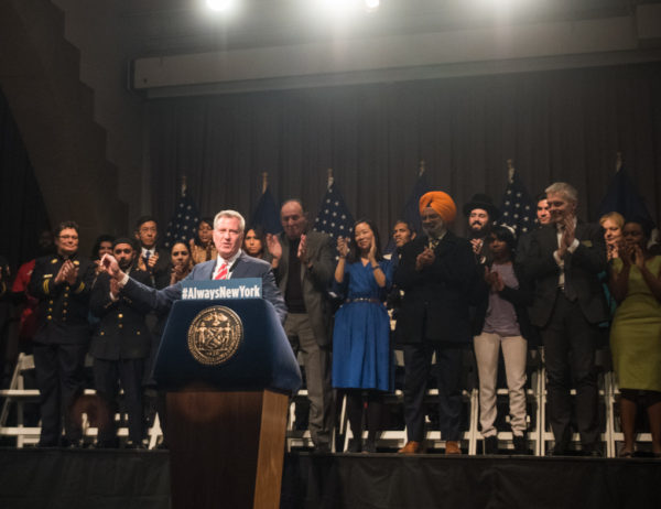 Mayor Bill de Blasio delivers a public address in The Great Hall at Copper Union in Manhattan on Monday, November 21, 2016. Edwin J. Torres/Mayoral Photo Office