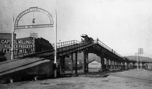 Downey Avenue Viaduct in 1889 near Capitol Milling Co. Courtesy of Los Angeles Public Library