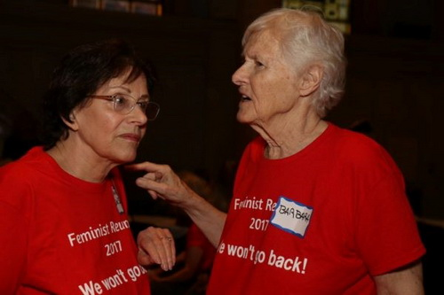 Carole DeSaram, left, and Barbara Love, organizers, during the reunion of second-wave feminists at Judson Memorial Church in Greenwich Village. Photos by Tequila Minsky