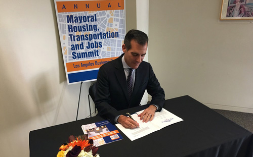 Mayor Garcetti at October 2015 Mayoral Summit where he announced his goal of getting linkage fees from developers to finance affordable housing.