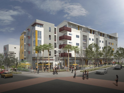 Architect's rendering of proposed Lorena Plaza, 3407 E. 1st Street, Boyle Heights